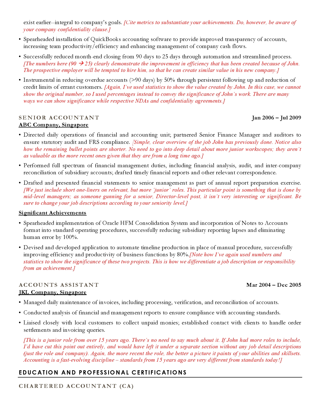 Accounting Resume Sample Cv Sample For Accountants