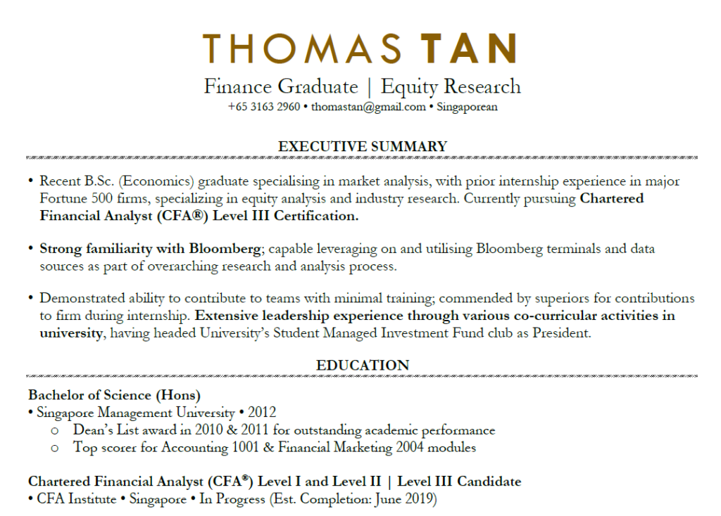 the cv sample fresh graduate finance