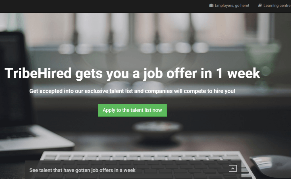 TribeHired home page