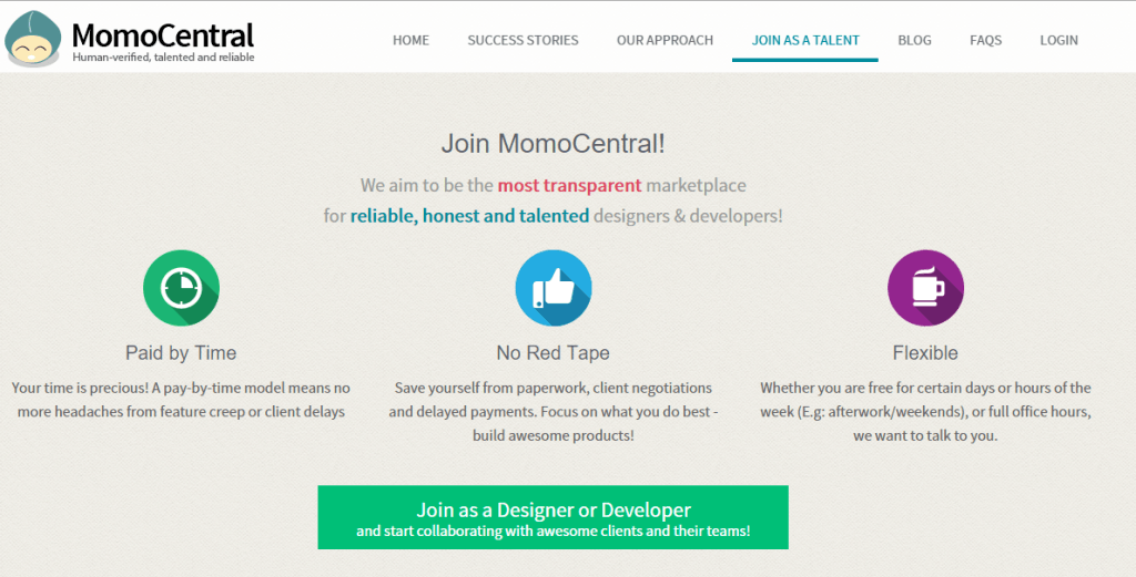 MomoCentral home page