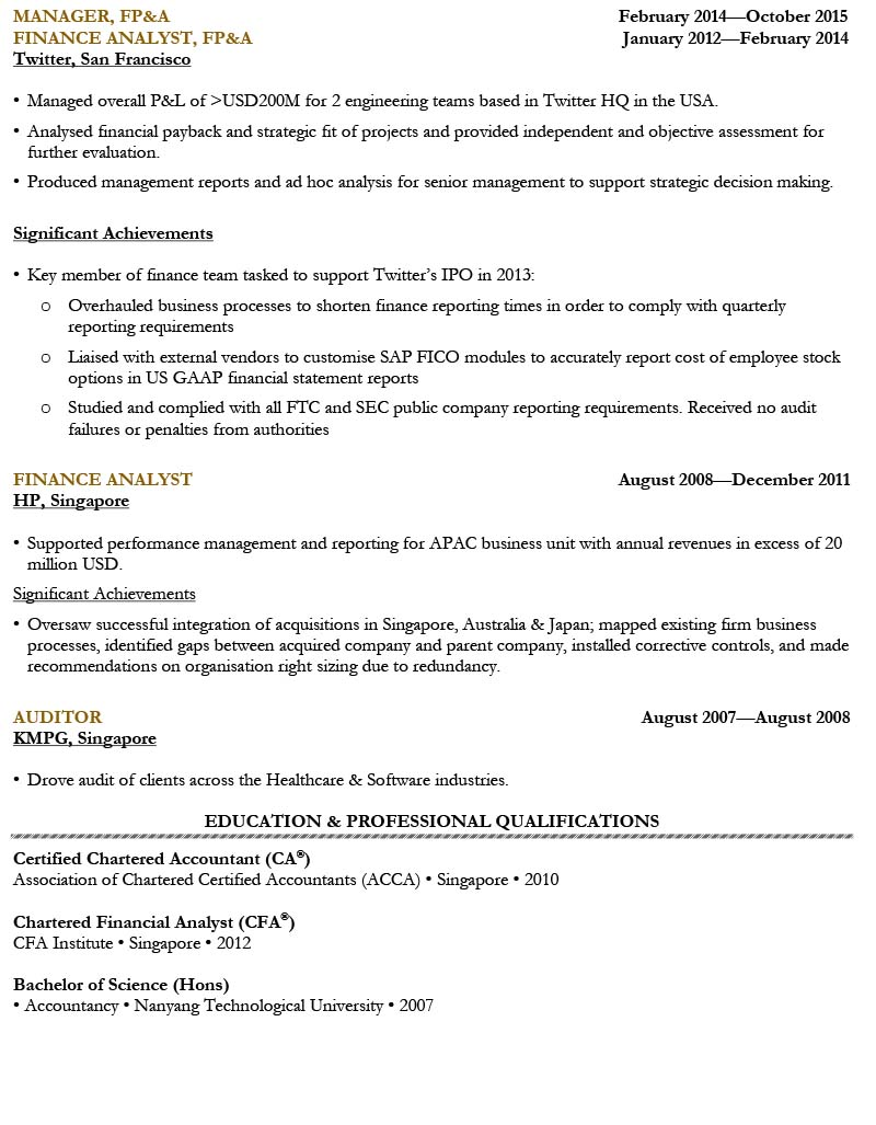 finance manager resume sample  singapore cv template